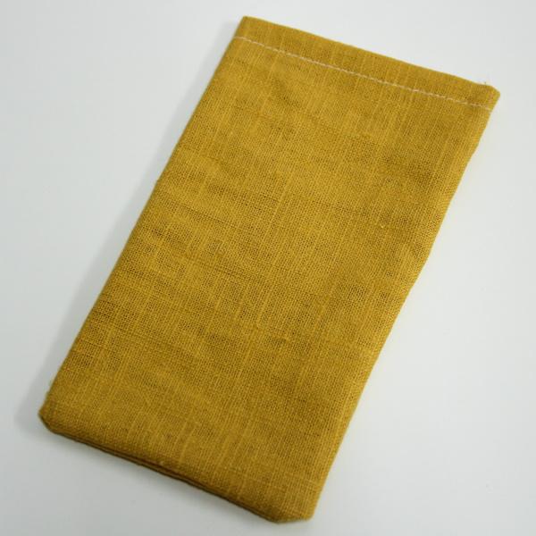 okerkleurig linnen zakje, 5st