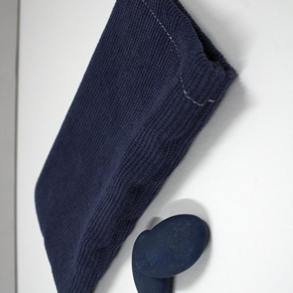 marineblauw ribfluwelen zakje, 5st