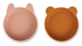 Vanessa bowl silicone 2-pack  - dark rose/mustard mix - Liewood