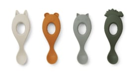 Liva Spoon silicone 4-pack - hunter green mix - Liewood