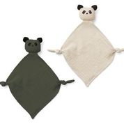 Yoko mini cuddle cloth - panda hunter green/sandy mix - Liewood