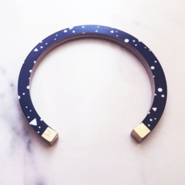 Bracelet - bangle black/white lunar storm - Hippstory