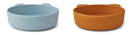 Vanessa bowl silicone 2-pack  - sea blue/mustard mix - Liewood
