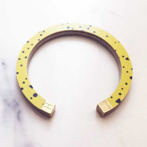 Bracelet - bangle yellow lunar storm/ pink black confetti - Hippstory