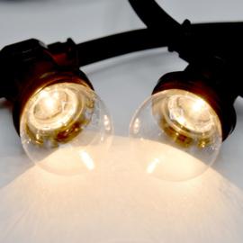 Prikkabel met warm witte led lampen - transparante kap