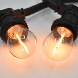 Prikkabel met warm witte filament led lampen - transparante kap