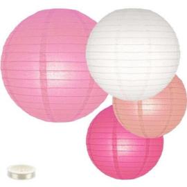 Lampionnen pakket roze 35 lampionnen