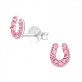 Zilveren Oorbellen Hoefijzer | Roze