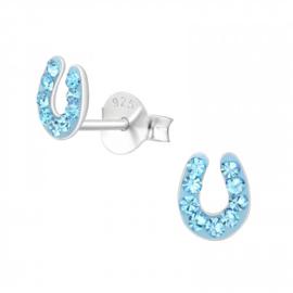 Zilveren Oorbellen Hoefijzer | Aqua Blauw