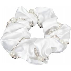 Haarelastiek/scrunchie met Parels Wit