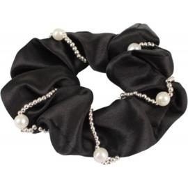 Haarelastiek/scrunchie met Parels Zwart