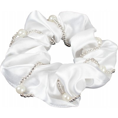 Haarelastiek/scrunchie met parels | wit