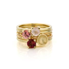Stapel Roze Aanschuifringen | 5 geel gouden ringen