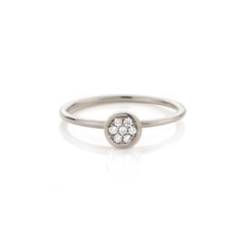 Diamanten Rozet Aanschuifring | Palladium Witgoud