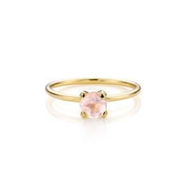 Stapel Roze Aanschuifringen   5 geel gouden ringen