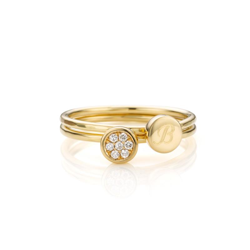 Stapel Diamant en Letter | 2 ringen