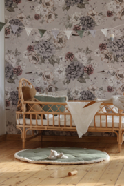 Wallpaper Flowers and Storks- Dreamy Gray & Green-Unisex