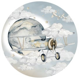 Wandsticker Plane in a Circle- Boys
