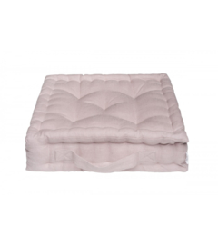 Linnen poef quilted, Roze