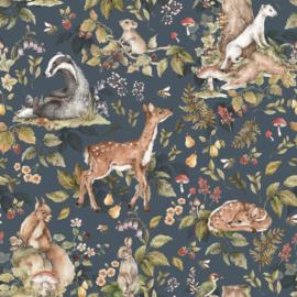 'Cute forrest animals Dark ' Behang