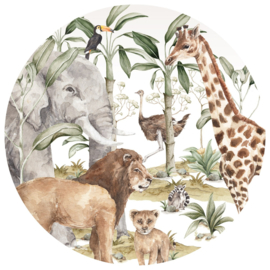 Wandsticker Savanna World In A Circle