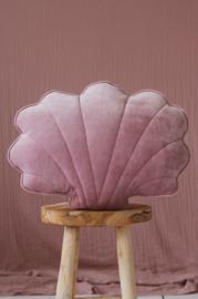 Velvet sierkussen schelp, 'Light Pink' -MoiMili