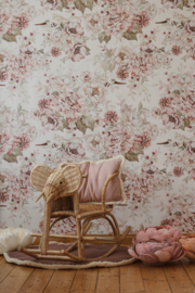 "Wallpaper ""Flowers and Storks""- Dreamy Pink & Peony"