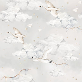 'Magic Swans Blue ' Behang