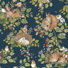'Little Sleepy Animals -Dark' Behang
