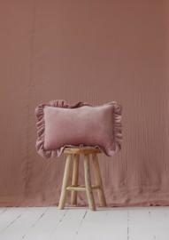 Velvet sierkussen met frills 'Light Pink' -MoiMili