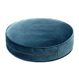 Sea green velvet pouf- Large
