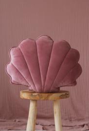 Ultra soft!Velvet kussen schelp, 'Dirty Pink' -MoiMili