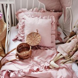 Dirty Pink met frills bedding-set  -120 x 90 cm, 40 x 60cm