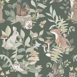 Woodland Dark Green- Behang