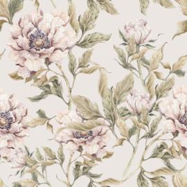 'Peonies beige  ' Behang