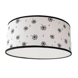Handgemaakte plafondlamp in het wit met zwarte paardenbloemen.