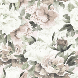 'White And Pink Peonies Max  ' Behang