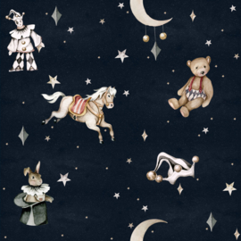'French characters in the night sky / Toys from the attic ' Behang