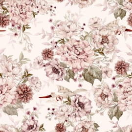 @dehuismuts Wallpaper Flowers and Storks- Dreamy Pink & Peony