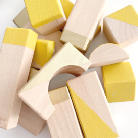 Geometrische blokken set Oker/gold