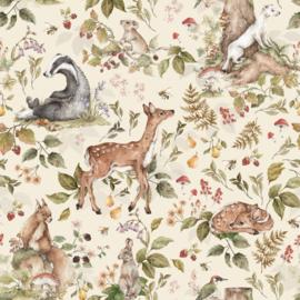 'Cute forrest animals Light ' Behang