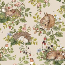 'Little Sleepy Animals -Light' Behang