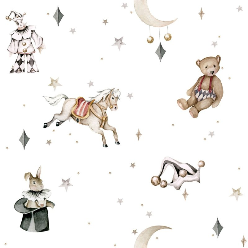 'French characters in the light sky / Toys from the attic ' Behang