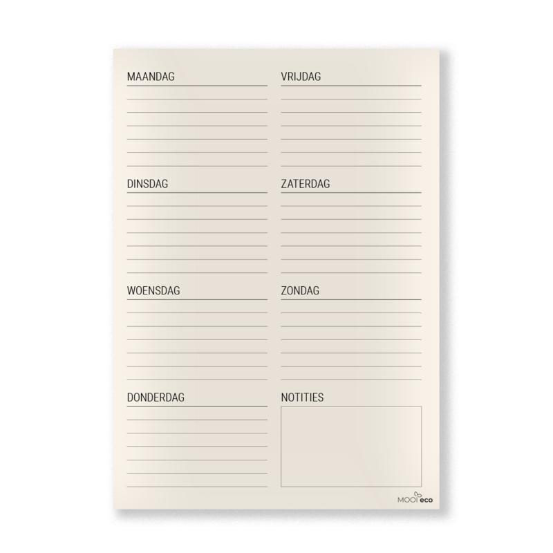 MOOI eco weekplanner  | A5 notitieblok | deskplanner