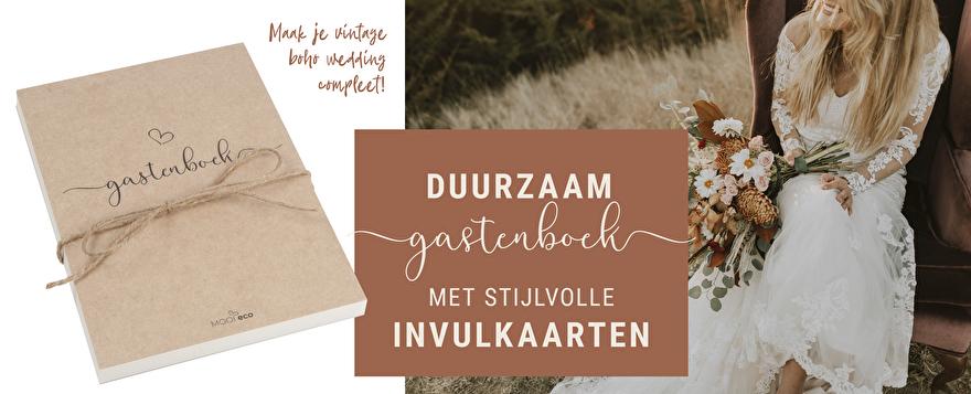 Duurzame invulkaarten, stijlvol gastenboek. Maak je vintage boho wedding compleet!