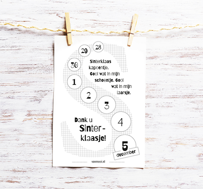 Gratis Printable | Freebie | Aftelkalender Sint