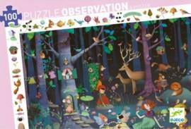 Djeco - Magische observatiepuzzel 'betoverd bos' (100 pc) 