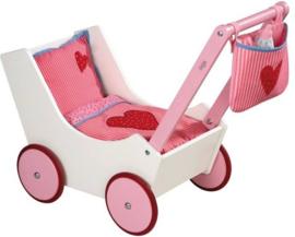 Haba poppenwagen met tas en zuigfles
