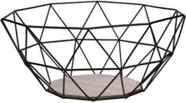 Fruitmand - Metaal - Hout - 26x25x12 cm