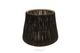 Draardlantaarn 11 cm glas zwart/goud - S